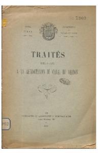 Traités relatifs à la rétrocession du canal du Verdon : extrait des registres des délibérations du conseil municipal de la ville d'Aix, séance extraordinaire du 6 décembre 1895