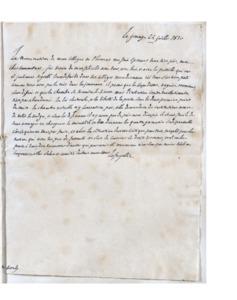 Lettre autographe de La Fayette à Joseph Borély